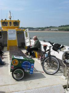 2011:Round Britain. My trailer and box on the Padstow ferry, Cornwall