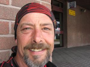 Captain caveman! Larne, waiting to sail to Scotland 2012