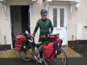 Fellow long distance cyclist Jack leaving my house to head for sunny climes. We met on the Outer Hebrides