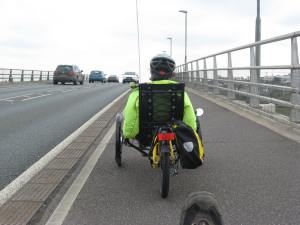 Taw bridge Barnstaple: The shared bike and pedestrian path.