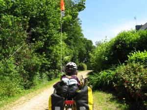 Carahaix Plougher to Rostrennen cycle way. Note the Bretagne flag :)