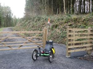 One of the new chicanes that replace the old gates on the Tarka Trail, Devon, UK