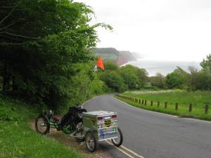 Heading down Peak Hill to Sidmouth having struggled up the other side